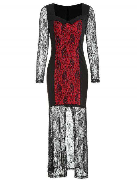 Long Sleeve Halloween Costume Lace Dress - RED M