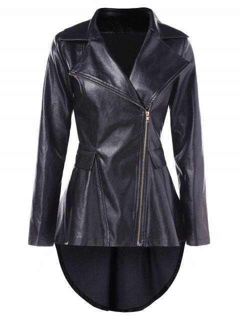 Zip Fly High Low Biker Jacket - BLACK M