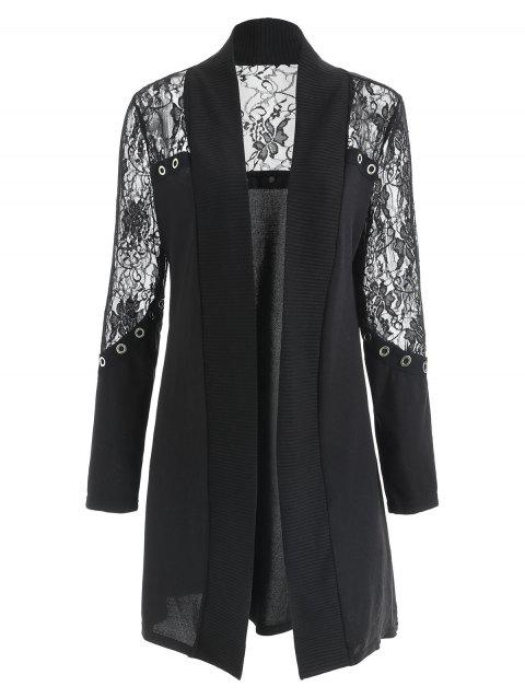 Longline Lace Panel Cardigan - BLACK XL