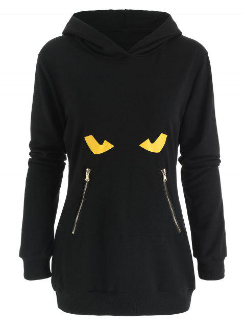 Zipper Pocket Black Cat Hoodie - BLACK 2XL