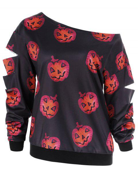Sweat-Shirt d'Halloween Citrouille Imprimé - Noir M
