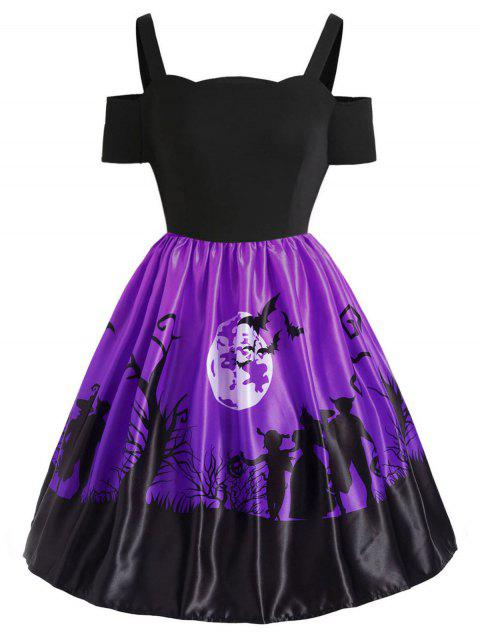 Plus Size Cut Out Halloween Dress - PURPLE 2X