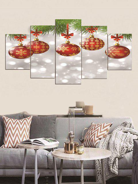 Christmas Hanging Balls Print Unframed Canvas Paintings - multicolor 1PC X 12 X 31,2PCS X 12 X 16,2PCS X 12 X 24 INCH(