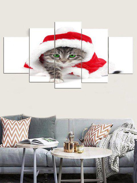 Christmas Cat Print Unframed Canvas Paintings - WHITE 1PC X 8 X 20,2PCS X 8 X 12,2PCS X 8 X 16 INCH( NO