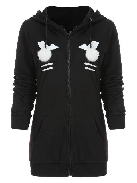 Zipper Black Cat Hoodie with Pompom Ball - BLACK 2XL