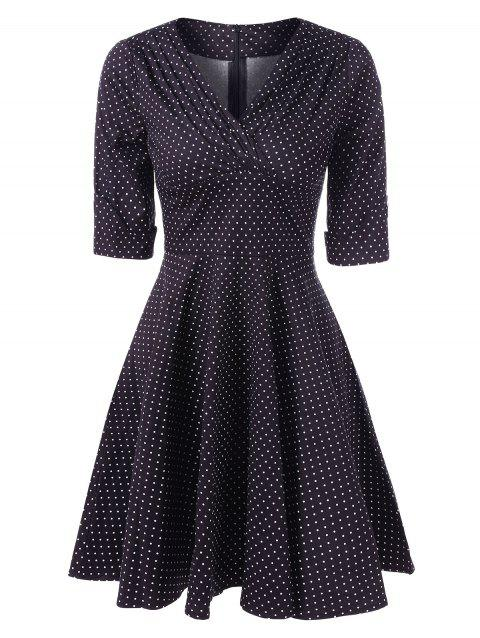 Retro Polka Dot Fit and Flare Dress - BLACK 2XL