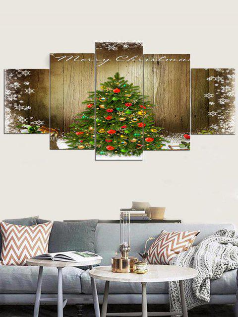 Christmas Tree Wood Grain Print Unframed Canvas Paintings - multicolor 1PC X 8 X 20,2PCS X 8 X 12,2PCS X 8 X 16 INCH( NO