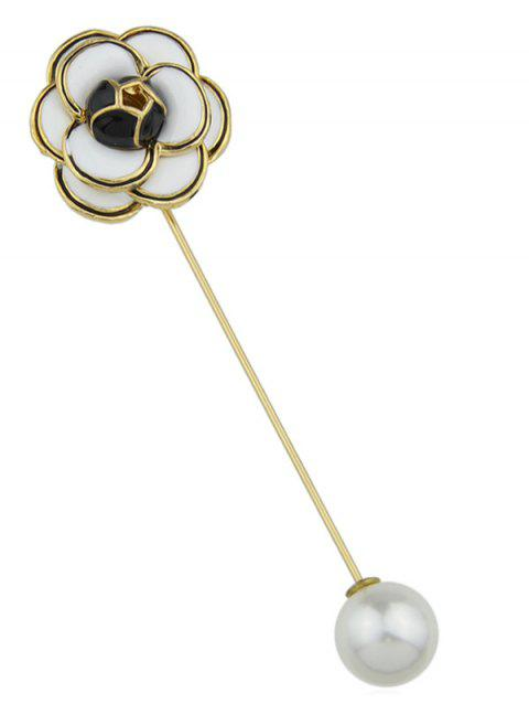 Faux Pearl Flower Brooch Pin - WHITE