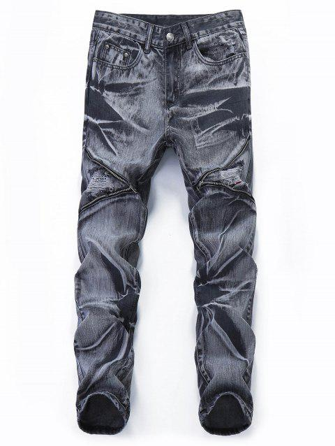 Destroyed Retro Zipper Leg Straight Jeans - CARBON FIBER BLACK 34