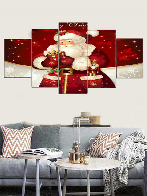 Christmas Santa Claus Print Unframed Canvas Paintings - RED WINE 1PC X 12 X 31,2PCS X 12 X 16,2PCS X 12 X 24 INCH(