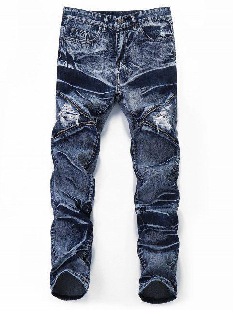 Destroyed Retro Zipper Leg Straight Jeans - JEANS BLUE 32