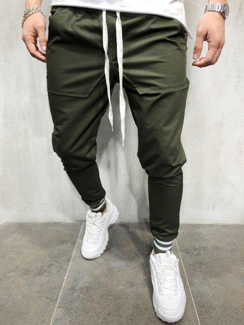 Stretchy Leg Opening Jogger Pants - ARMY GREEN M