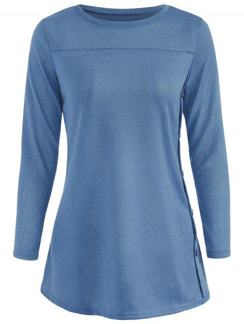 Long Sleeve Tunic T-shirt - BLUE XL
