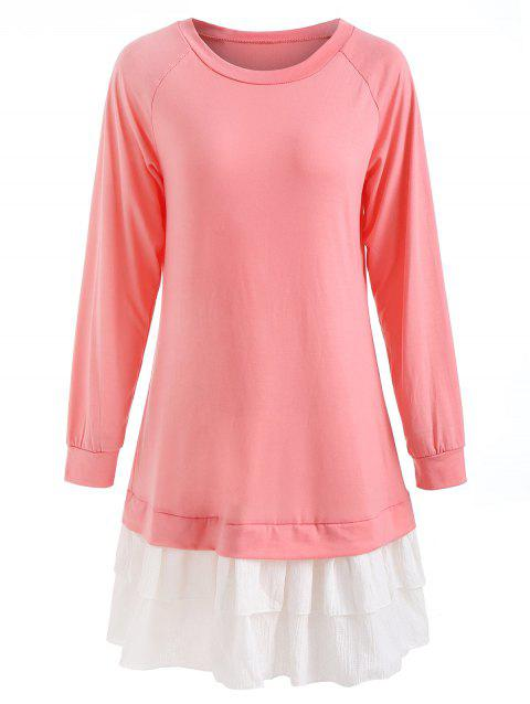 Raglan Sleeve Tunic Ruffled Dress - PINK XL