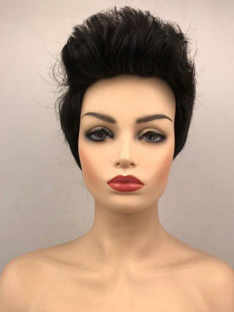Short Upwards Flip Bang Straight Capless Synthetic Wig - BLACK