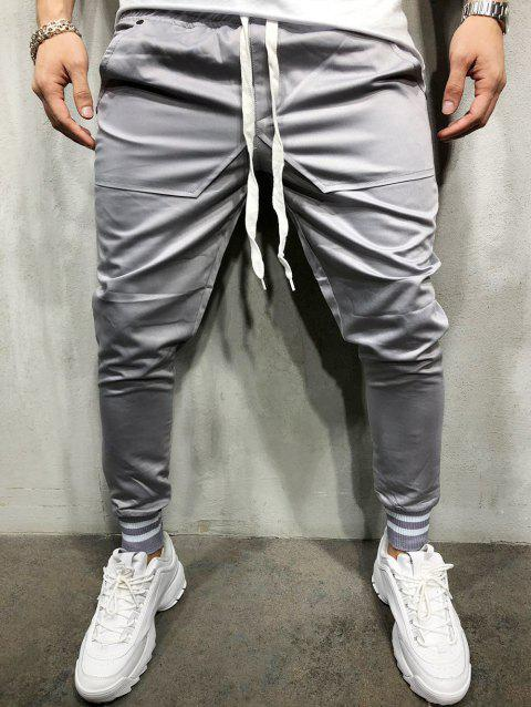 Stretchy Leg Opening Jogger Pants - GRAY M