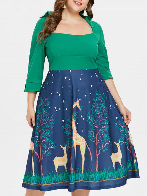 Plus Size Giraffe Fit and Flared Dress