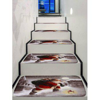 Christmas Gift Santa Claus Printed Decorative Stair Floor Rugs - multicolor 5PCS X 28 X 9 INCH