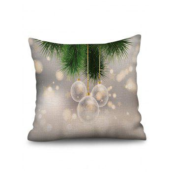 Christmas Hanging Balls Print Sofa Linen Pillowcase - multicolor W18 X L18 INCH