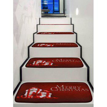 Merry Christmas Gift Print Decorative Stair Floor Rugs - multicolor 5PCS X 28 X 9 INCH