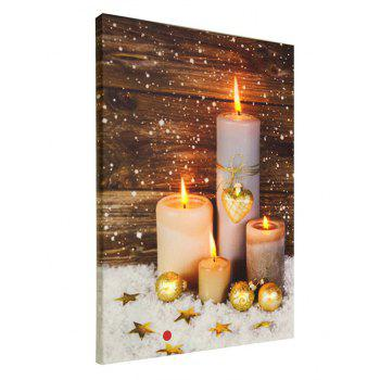 Christmas Candles Print Unframed Canvas Paintings - multicolor 1PC:16*24 INCH( NO FRAME )