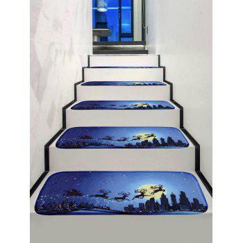 Christmas Night Deer Printed Decorative Stair Floor Rugs - multicolor 5PCS X 28 X 9 INCH