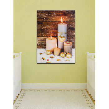 Christmas Candles Print Unframed Canvas Paintings - multicolor 1PC:12*18 INCH( NO FRAME )