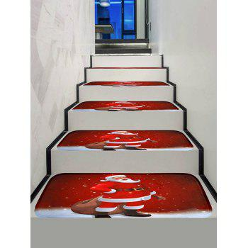 Father Christmas Print Decorative Stair Floor Rugs - multicolor 5PCS X 28 X 9 INCH