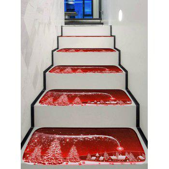 Christmas Tree House Printed Decorative Stair Floor Rugs - multicolor 5PCS X 28 X 9 INCH