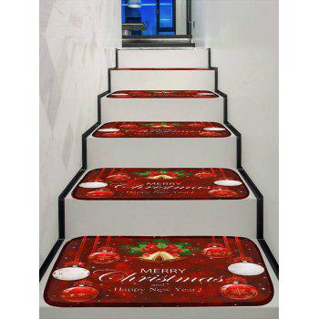Merry Christmas Bells Print Decorative Stair Floor Rugs - multicolor 5PCS X 28 X 9 INCH