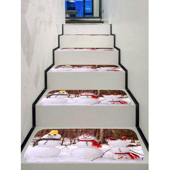 Funny Christmas Snowman Decorative Stair Floor Rugs - multicolor 5PCS X 28 X 9 INCH