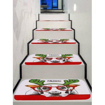 Merry Christmas Dog Print Decorative Stair Floor Rugs - multicolor 5PCS X 28 X 9 INCH