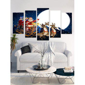 Christmas Moon Night Print Unframed Canvas Paintings - multicolor 1PC X 12 X 31,2PCS X 12 X 16,2PCS X 12 X 24 INCH(