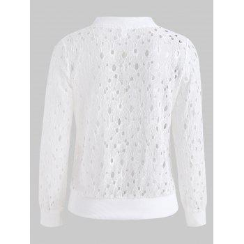Hollow Out Lace Jacket - MILK WHITE 2XL