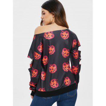 Sweat-Shirt d'Halloween Citrouille Imprimé - Noir S