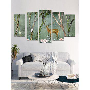 Plum Blossom Elk Printed Wall Decoration Canvas Paintings - multicolor 1PC X 8 X 20,2PCS X 8 X 12,2PCS X 8 X 16 INCH( NO