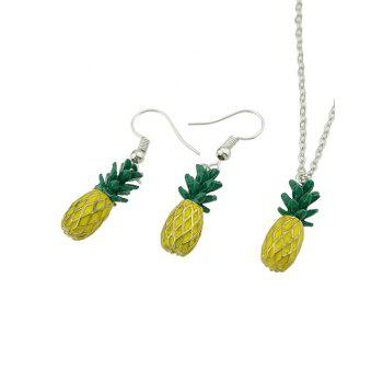Pineapple Design Pendant Chain Necklace with Earrings - YELLOW