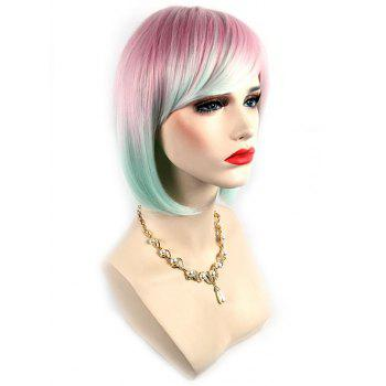 Short Side Bang Colorful Rainbow Straight Bob Party Synthetic Wig - multicolor A
