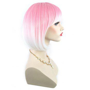 Short Side Bang Colorful Rainbow Straight Bob Party Synthetic Wig - multicolor G
