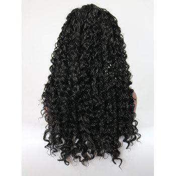 Long Side Parting Curly Heat Resistant Synthetic Lace Front Wig - BLACK 24INCH