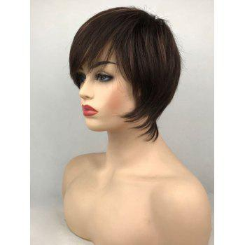 Short Oblique Fringe Straight Capless Synthetic  Wig - DEEP BROWN