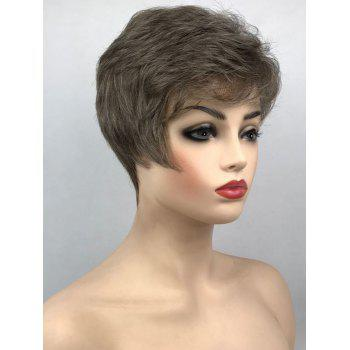 Short Inclined Fringe Straight Heat Resistance Synthetic Wig - ARMY BROWN