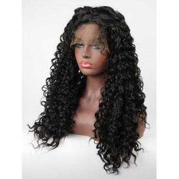 Long Side Parting Curly Lace Front Heat Resistance Synthetic Wig - BLACK 24INCH