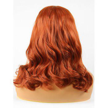 Medium Side Parting Wavy Lace Front Synthetic Party Wig - PAPAYA ORANGE 16INCH