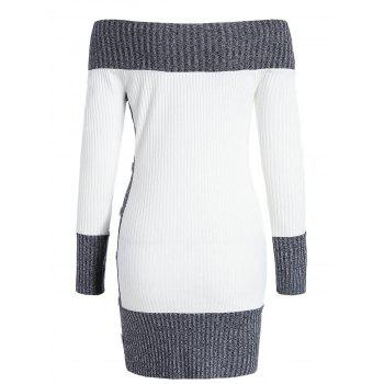 Hit Color Tunic Knitted Dress - WHITE XL