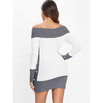 Hit Color Tunic Knitted Dress - WHITE 2XL