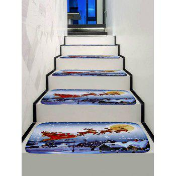 Santa Claus Christmas Deer Printed Decorative Stair Floor Rugs - multicolor 5PCS X 28 X 9 INCH