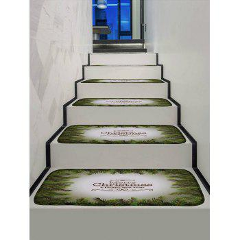 Leaf Merry Christmas Printed Decorative Stair Floor Rugs - multicolor 5PCS X 28 X 9 INCH
