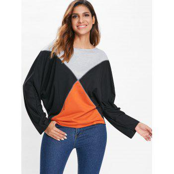 Boat Neck Batwing Sleeve T-shirt - BLACK L