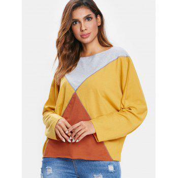 Boat Neck Batwing Sleeve T-shirt - RUBBER DUCKY YELLOW L